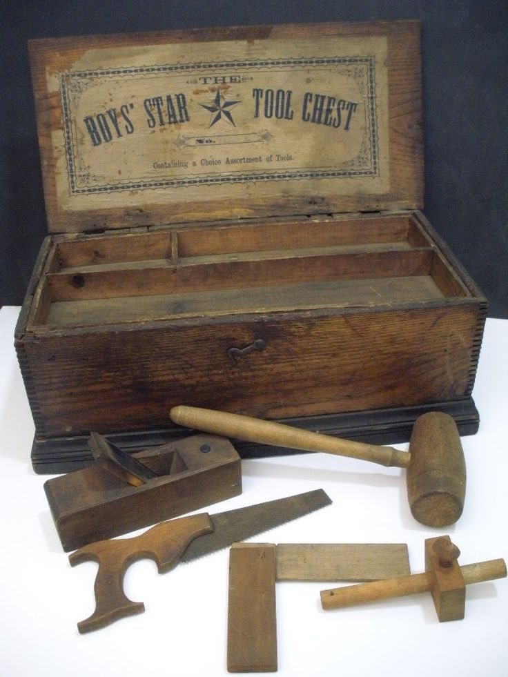 "Antique Childs Carpenter's Toy Chest w/Tools Circa 1900-1910 ""The Boys Star"""