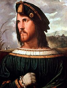 Alleged portrait of Cesare Borgia, by Altobello Melone. Bergamo, Accademia Carrara. Cesare was the son and cardinal-nephew of Alexander VI, and became the first person to resign the cardinalate on 17 August 1498.