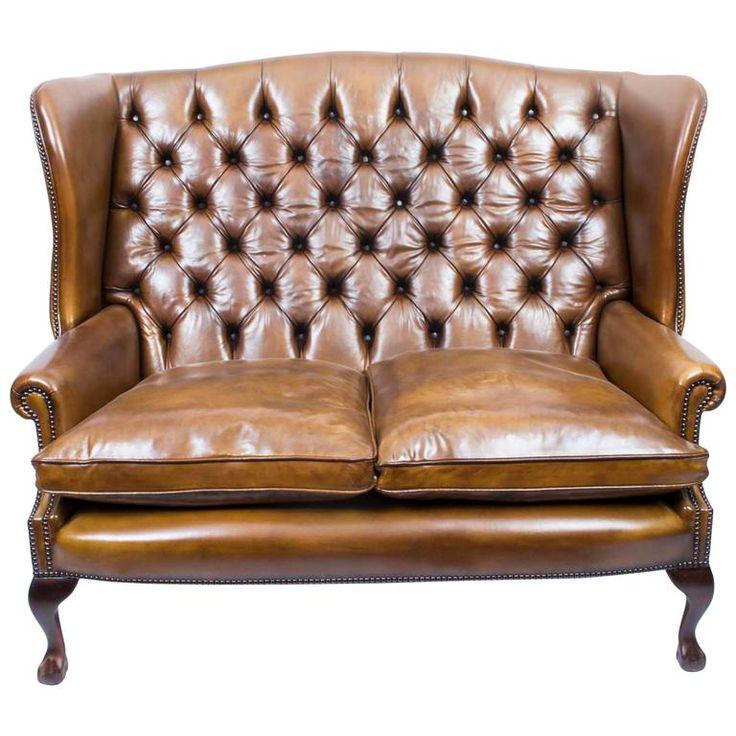 english leather chippendale club settee sofa in cognac - Tpferei Scheune Kleine Wohnzimmer Ideen
