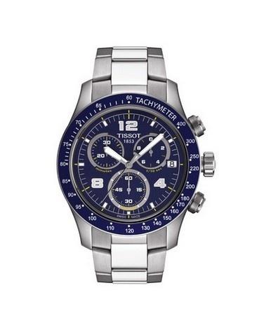 Montre Sport V8 TISSOT Homme chronographe, boîtier bleu marine.
