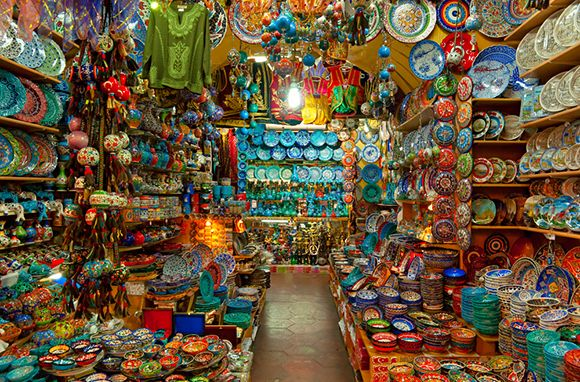 Grand Bazaar, Istanbul, Turkey ~~ If you must shop, why not shop at one of the oldest and largest covered markets in the world? Istanbul's Grand Bazaar spans 61 covered streets and contains more than 3,000 merchants. A visit here combines the original tourist activity—shopping for souvenirs—with the noblest: immersing yourself in another culture.