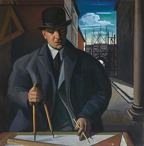 Achille Funi, The Architect Mario Chiattone (1924) #art #painting