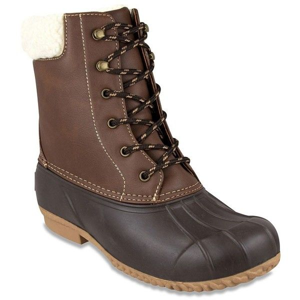 London Fog Wonder 2 Women's Winter Duck Boots ($59) ❤ liked on Polyvore featuring shoes, boots, brown, rubber shoes, rubber boots, london fog boots, rubber duck boots and brown duck boots