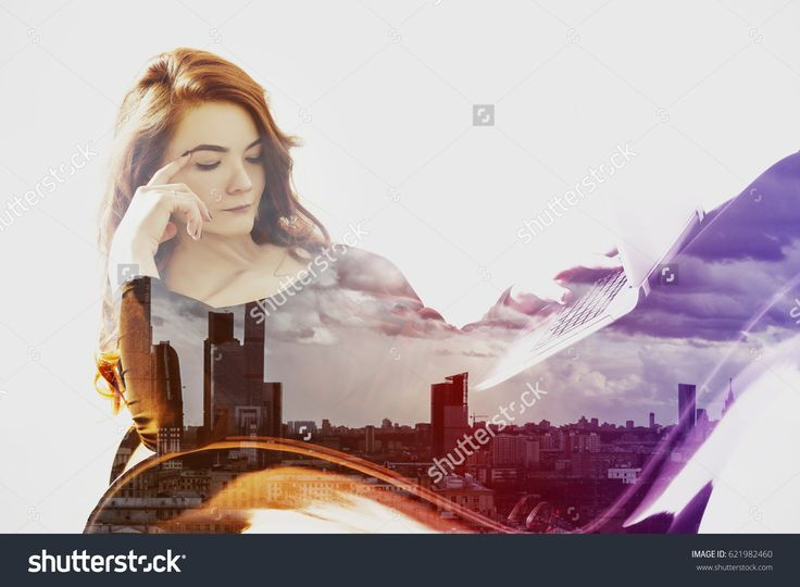 Side view of beautiful lady on city background. Toned image. Double exposure