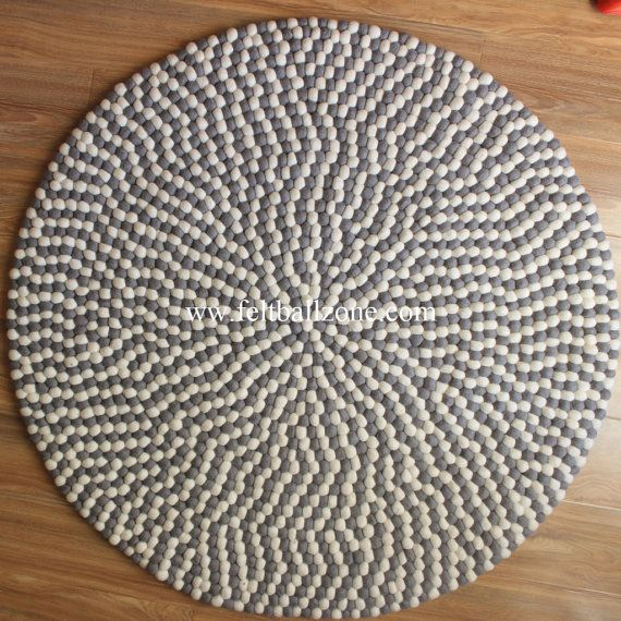 Grey White Felt Ball Rug Hand Crafted In Nepal By by FeltBallZone