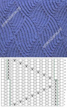 узор 285  каталог вязаных спицами узоров