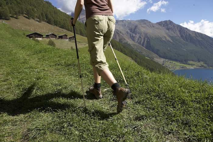 Walking in the Senales Valley above Lake Vernago
