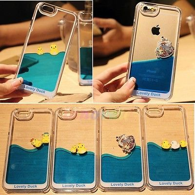 Cute Duck Liquid Transparent Hard Case Cover Skin For iPhone 5 5S 6 Plus