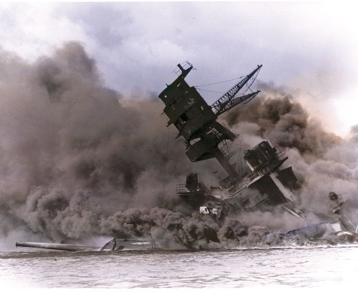 PEARL HARBOR ... DEC. 1941... USS ARIZONA EXPLODES & SINKS... HUNDREDS OF CASUALTIES.............