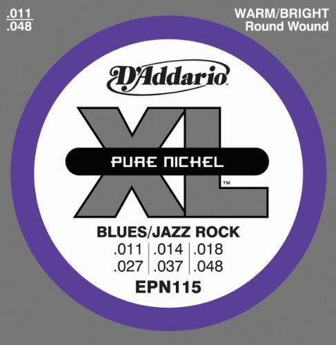 D'Addario EPN115 Pure Nickel Electric Guitar Strings, Blues/Jazz Rock, 11-48 by D'Addario. Save 53 Off!. $6.59. From the Manufacturer                EPN115's combine the playability of D'Addario's popular medium gauge set with a warmer, vintage tone.D'Addario XL Pure Nickel strings look back to the '50s, when nickel was the primary alloy found in electric guitar strings. Pure nickel strings would be supplanted by nickelplated steel in the '60s when guitarists required brighter tone and...
