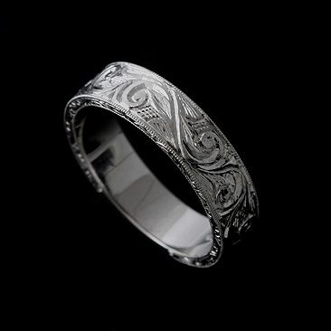 14k Solid White Gold Art Deco Style Engraved Men Wedding Band Ring B1055ven 11