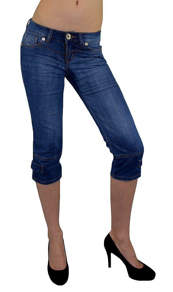 S&LU Damen Bermuda-Jeans/ 3/4 Capri mit einem Totenkopf 3D Druck Jeansblau 34