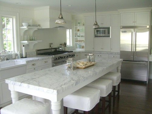 classic kitchen that is a gorgeous free standing island bench with a marble stone top