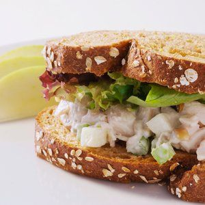 Roast Chicken Salad Sandwich with apples, almonds and celery - easy to make with rotisserie chicken. Sounds crunchy and satisfying. Substitute greek yogurt for mayo.