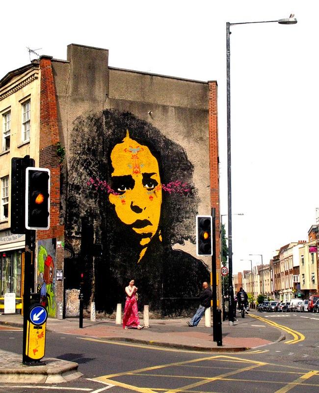 Street art by Stinkfish in Bristol, United Kingdom