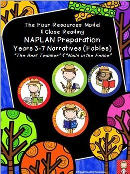 "Higher order thinking reading comprehension and writing activities for two narrative texts: ""The Best Teacher"" and ""Nails in the Fence"".  Resource designed to support holistic and rigorous preparation for national literacy testing (NAPLAN in Australia).This resource links the U.S."