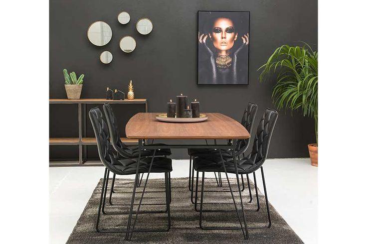 Bordplate i valnøttfiner, understell i sort stål, 180x90 55 cm