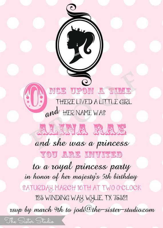Barbie Birthday Invitation - Pink - Black - Princess Party - Digital File