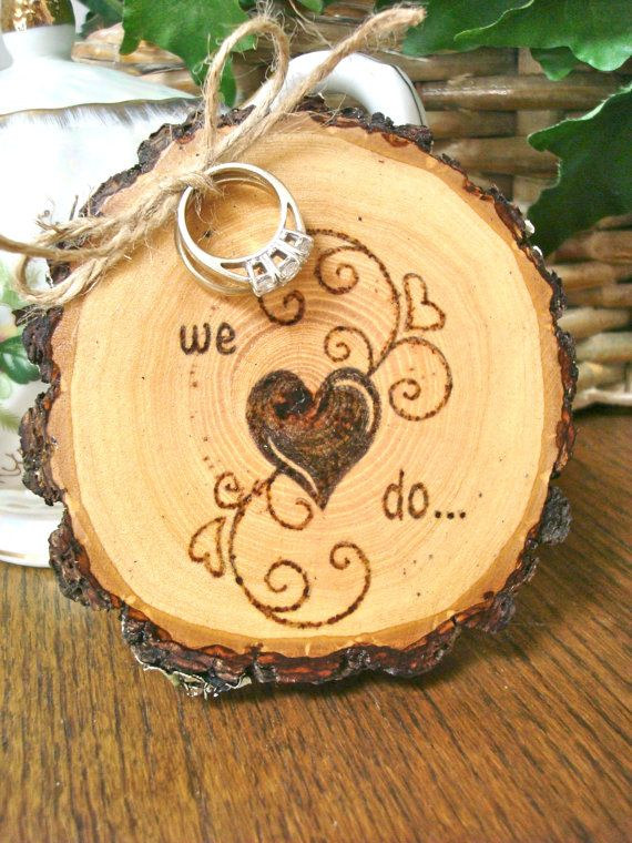 Rustic Wedding Ring Holder Wood Slice Ring by SweetHomeWoods, $26.00