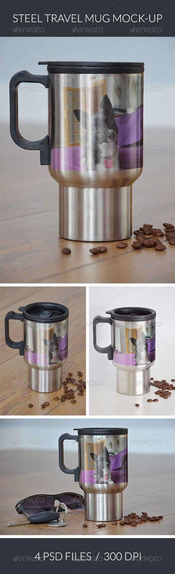The photorealistic mockup of steel travel mug with your photo/design. 4 PSD files, for different views.  - 300 dpi - 3000×2000px - 4 PSD files - Smart Objects - Instruction included