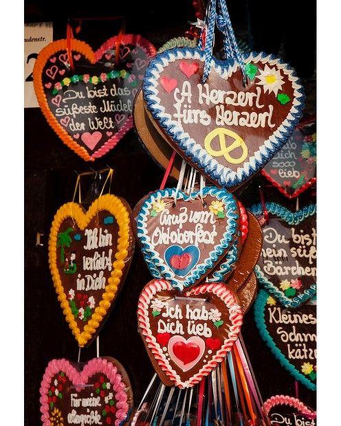 Germany Lebkuchenherz, or gingerbread hearts, baked for Oktoberfest.