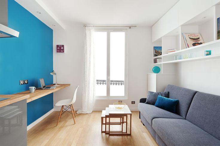 Dans la 3ème pièce qui nous sert de bureau et de chambre d'ami, je souhaiterais un long plan de travail comme ça sur tout un pan de murs...