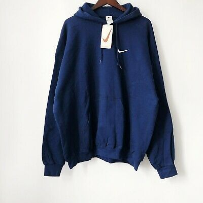 Late 90s Nike Hoodie Deadstock Nwt Navy Blue White Embroidered Logo Middle Storage Pocket Drawstring Hood In Excelle Vintage Hoodies Hoodie Fashion White Nikes