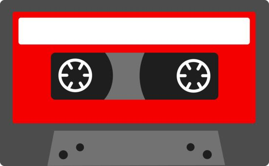 Free clip art of a red cassette tape