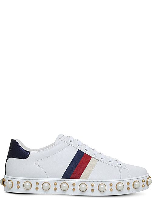 GUCCI Ace leather studded sneakers