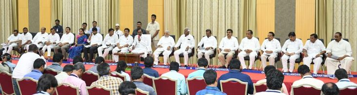 Photographs of Honourable Chief Minister K. Chandrashekhar Rao addressing the Press at Pragathi Bhavan