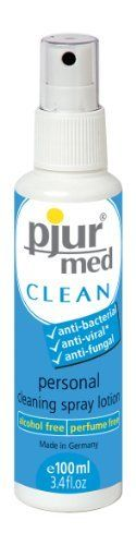 Pjur MedClean Spray Lotion 100ml?/?3.4oz?bottle by Pjur. $8.70. Anti-bacterial, Anti-viral*, and Anti-fungal.  A gentle and hygienic guard against the spread of infection and disease. This unique spray lotion contains special ingredients that have an intensive anti-microbial effect against bacteria, certain viruses, and fungal infections. *Pjur Med Clean has an anti-viral effect against lipophilic enveloped viruses. Lipophilic viruses are those which have a waxy or...