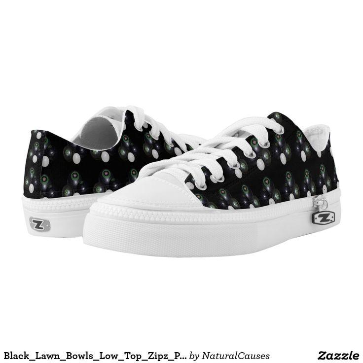 Black_Lawn_Bowls_Low_Top_Zipz_Printed_Sneakers Printed Shoes