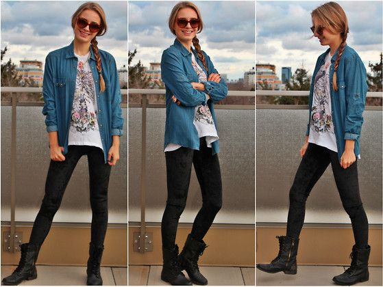 Topman Denim Shirt, Romwe Velvet Leggings, Religion Skeleton Shirt, Steve Madden Combat Boots, Prada Cat Eye Sunglasses