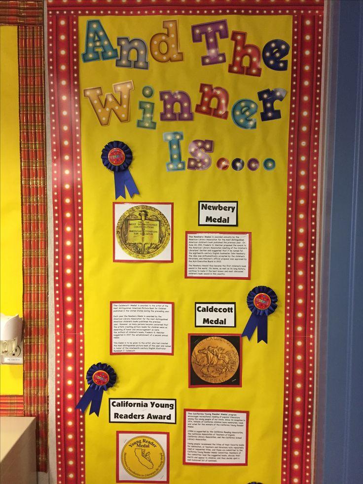 Book awards bulletin board caldecott medal newberry