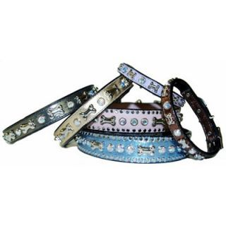 Bone & Crystal Pet Collar by Max&Molly  Made from fine Italian leather and nickel. http://www.groovyposhpets.com