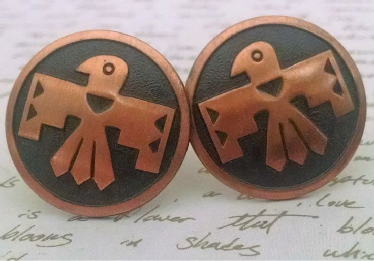 Cuff Links Vintage Thunder Bird Design Early Bell Copper Trading Company Beautiful Condition Tribal Ethnic Boho Chic by StoneForestJewels on Etsy