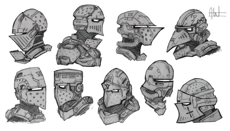 Sci-Fi Medieval Helmets, Archie Whitehead on ArtStation at https://www.artstation.com/artwork/2Bnwv