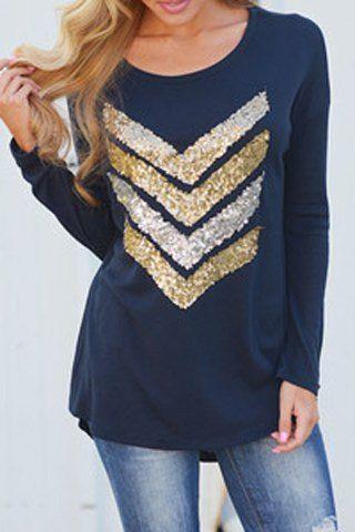 Trendy Scoop Neck Sequin Spliced Long Sleeve T-Shirt For Women