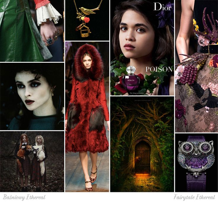 Fairytale Ethereal moodboard. One of 18 beauty types created by GretaKredka. Eclectic and extravagant style, Victorian and Edwardian style (rather male than female), tie necks, frills, ruffles, suspenders, hoods, furs, berets, caps, bowler hats, top hats, velvet. Color essence: Deep Autumn, Deep Winter.