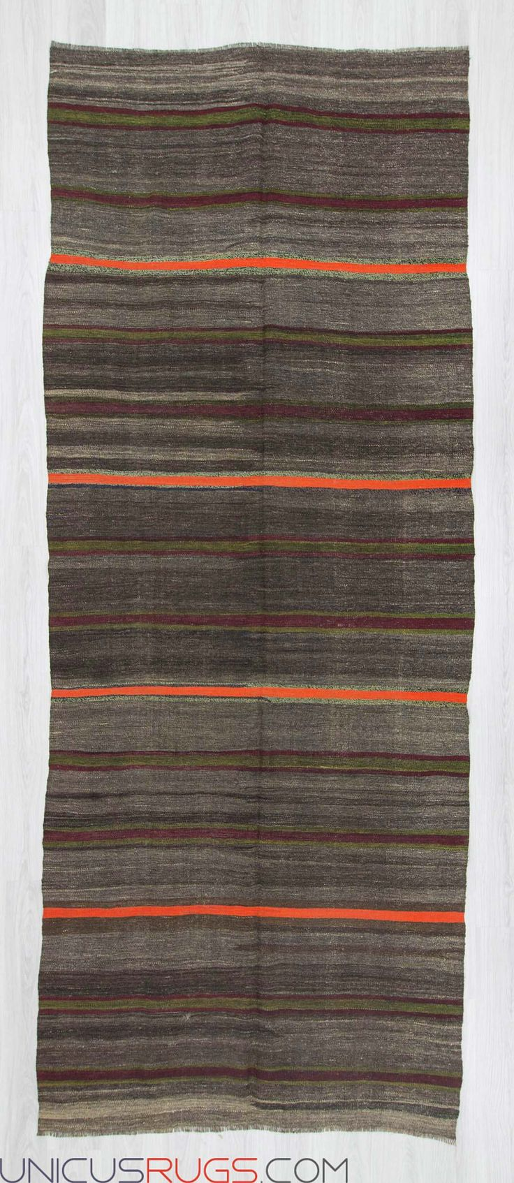 """Vintage striped kilim rug from Malatya region of Turkey. In good condition. Approximately 50-60 years old Width: 5' 1"""" - Length: 13' 0"""" Striped Kilims"""