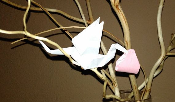Stork baby shower Origami stork Stork for baby by Handmadegiftbox
