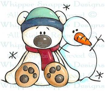 Bear and Snowman - Snowmen Images - Snowmen - Rubber Stamps - Shop