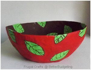 DIY How to Make a Decorative Paper Mache Bowl and More Homemade Gifts at BetterBudgeting.com