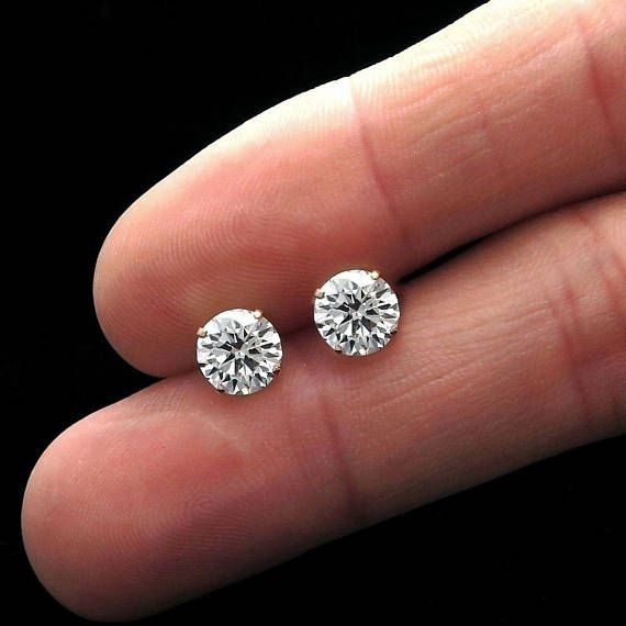 BRAND NEW 2.5CT CREATED DIAMOND SOLITAIRE EARRINGS 14K SOLID YELLOW GOLD  Our created diamond simulants are excellent cut, VVS1 clarity and brighter D color that make them visually indistinguishable from real diamonds that cost thousands of dollars. We only use high quality solid