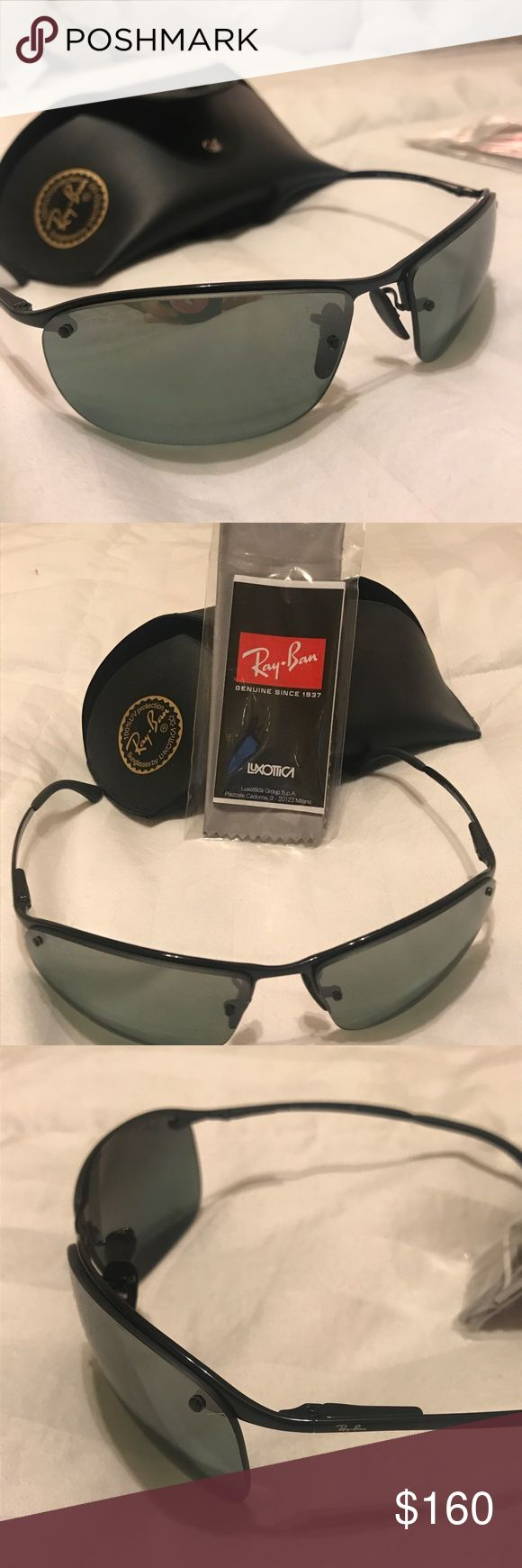 Mens Ray Ban sunglasses NWOT Never got used or worn! In wonderful condition. Model code: RB3542 002/5L 63-15. Has the brand newest type of lenses by Ray-Ban called Chromance. Has Polarized lenses. The person you received them as a gift didn't want another pair of sunglasses.  Price listed on Ray-Ban website is $193  Offers are welcomed through the offer button ONLY...please 💚 Ray-Ban Accessories Sunglasses