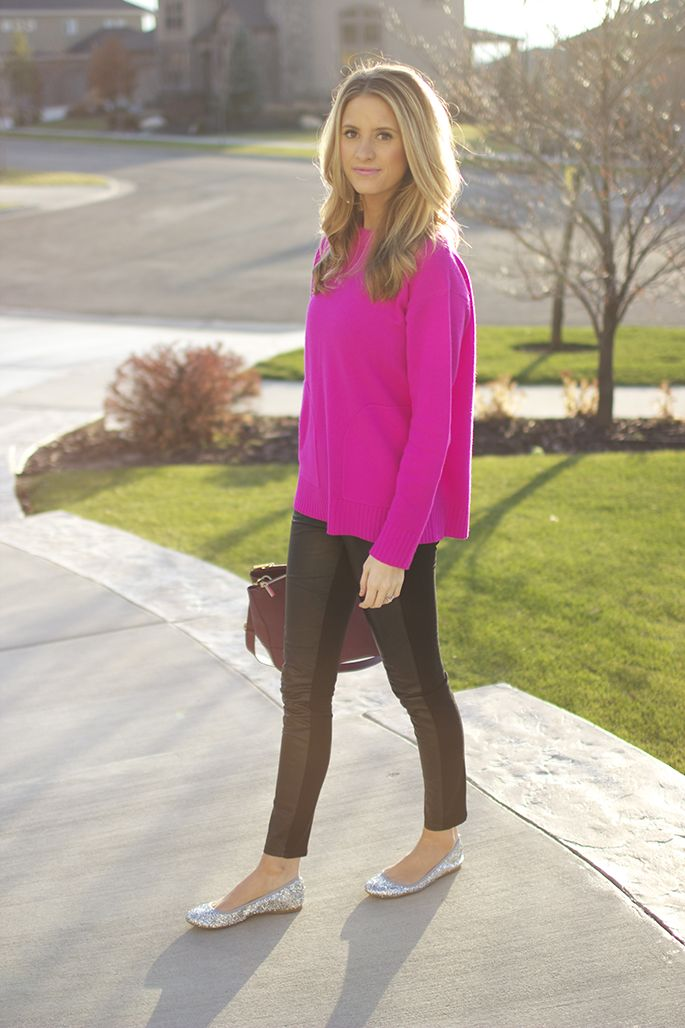 Leather leggings + sparkle shoes + oversized hot pink sweater