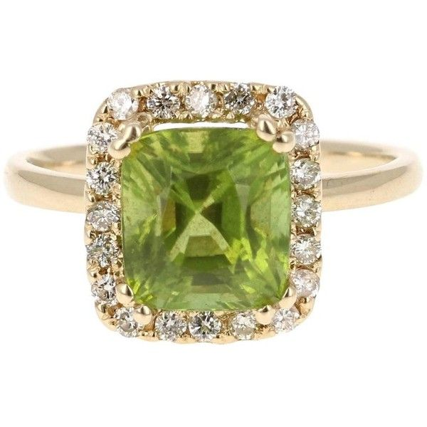 3.73 Carat Peridot Diamond Ring (£1,095) ❤ liked on Polyvore featuring jewelry, rings, cocktail rings, multiple, emerald cut cocktail ring, emerald cut diamond ring, 14 karat diamond ring, peridot diamond ring and round cut diamond rings
