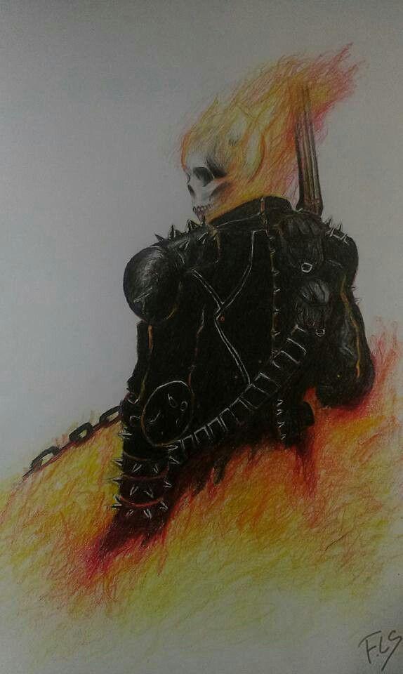 Ghost Rider. pencil & crayons