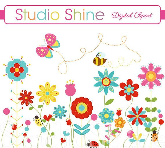 Flower Clipart - Happiness Blooms - Cute flower ladybug ...