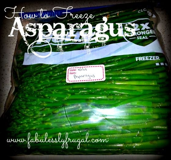 How to Freeze Asparagus  Freeze asparagus now, and enjoy it all year round!  http://fabulesslyfrugal.com/?p=202420